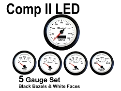 COMP II LED 5 Gauge Set, White Face - Black Anodized Aluminum Bezel Rings